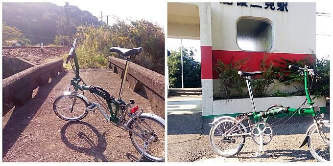 (左)上田浦の行き止まり、(右)肥後二見駅前