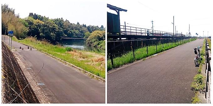 (左)緑豊かな球磨川沿い、(右)くま川鉄道の東多良木駅付近