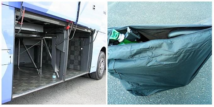 (左)高速バスのトランクルーム、(右)収納袋に入れたブロンプトン