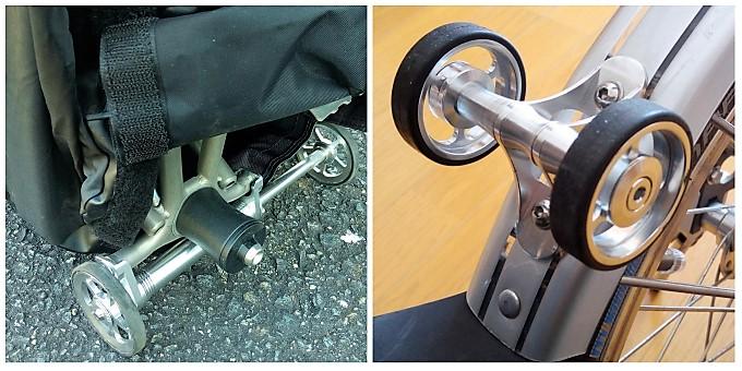 (右)輪行バッグから露出させたイージーホイール、(左)2輪のフェンダーホイール