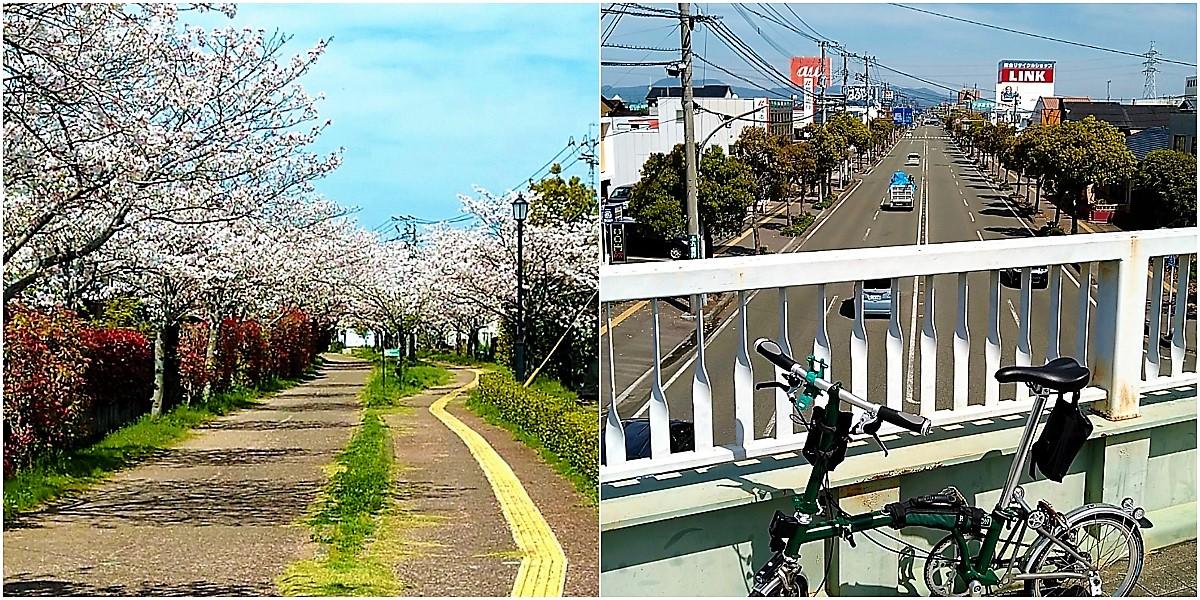 (左)横手町付近を通る「回廊線」、(右)陸橋から八代平野を望む